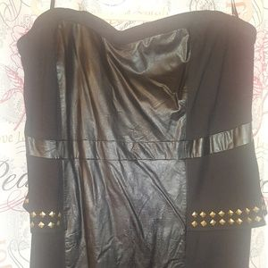 Faux leather dress straplesd